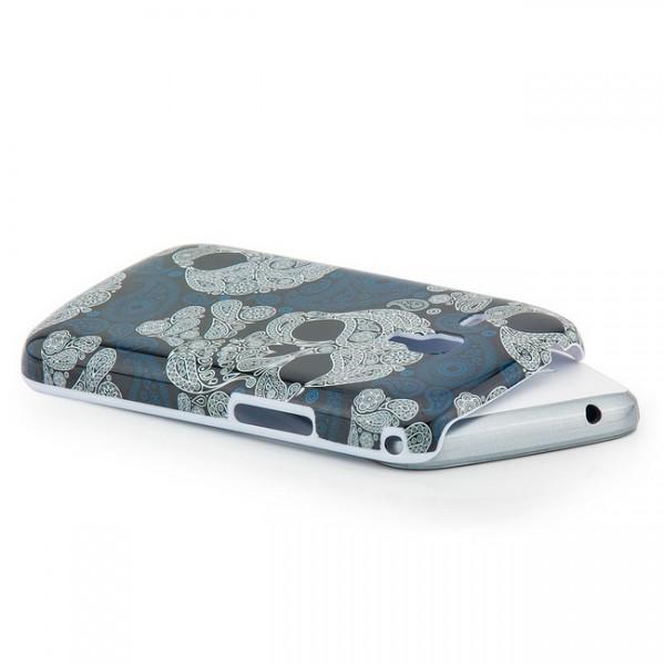 Skull Back Cover für Samsung Galaxy S Duos Weiß-Blau