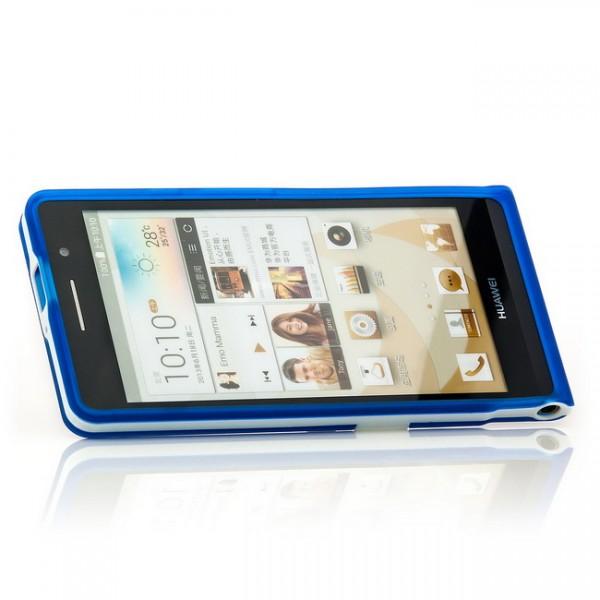 Silikon Stand Case für Huawei Ascend P6 Blau