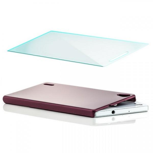 Slim Hard Case für Huawei Ascend P7 Bordeauxrot + GLAS
