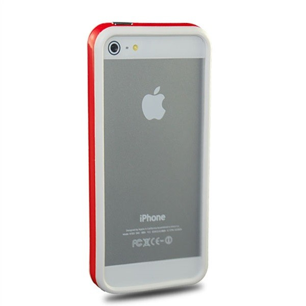 TPU & Silikon Bumper für Apple iPhone 5 & 5S Weiß-Rot