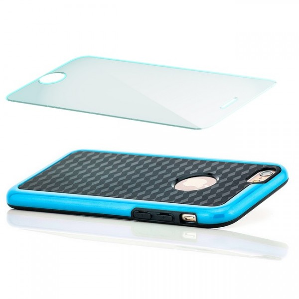 TPU Diamond Back Cover für Apple iPhone 6 & 6S (4,7) Blau + Panzerglas