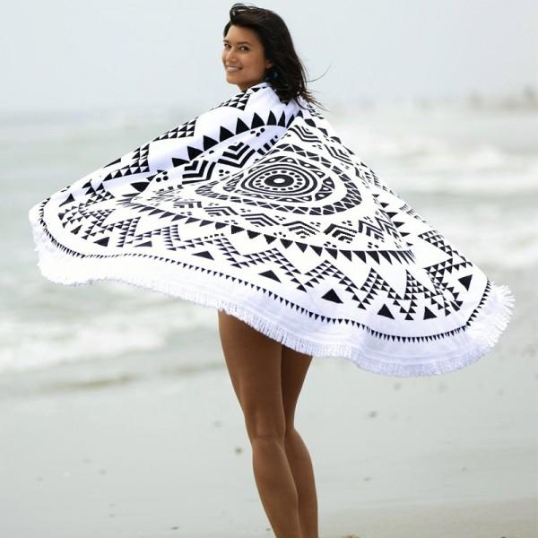 Rundes Strandtuch - Schwarz-weiße Kreise