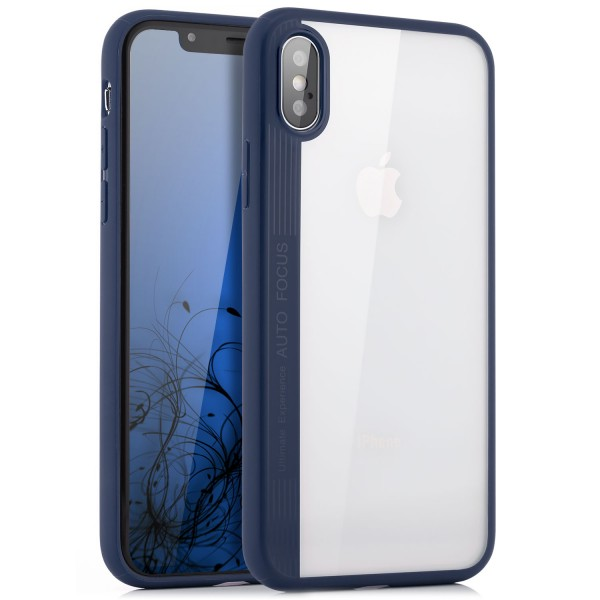 Silikon Back Cover 2 für iPhone X - Transparent-Dunkelblau