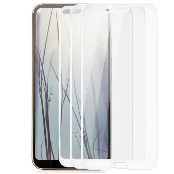 3x Full Cover Displayschutzglas für Huawei P20 Lite - Weiß