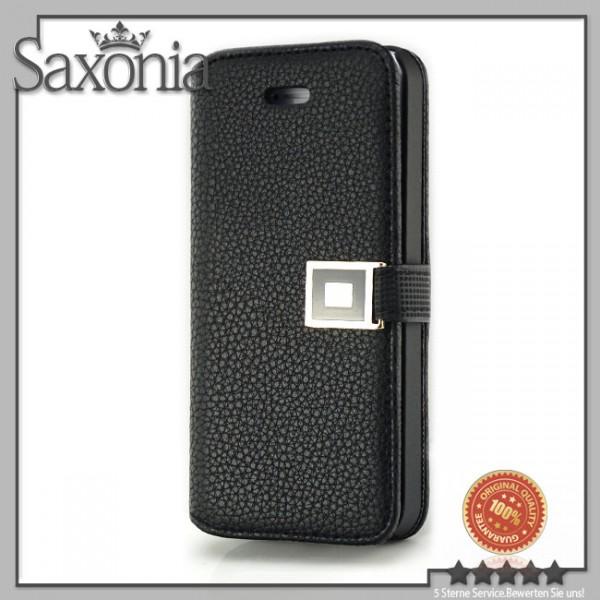 Schutzhülle mit Klappverschluss für Apple iPhone 5 & 5S Schwarz