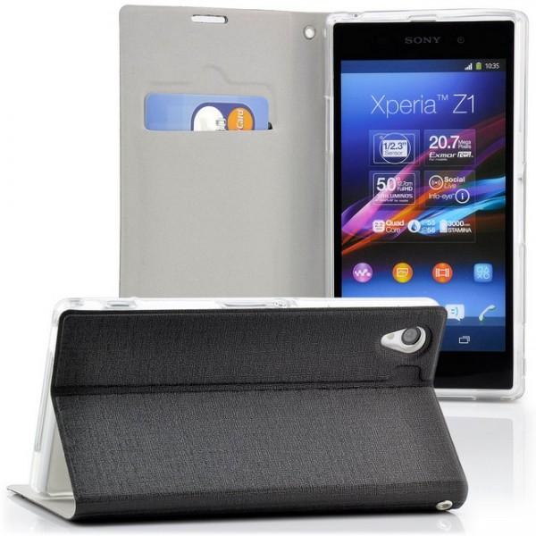 Slim Handytasche für Sony Xperia Z1 Schwarz