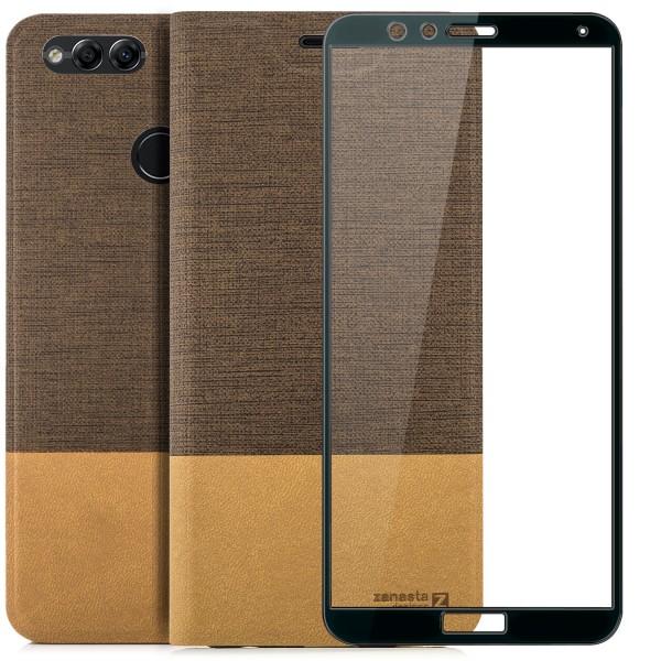 Kunstleder Slim Tasche für Huawei Honor 7X - Hellbraun + FC Glas S