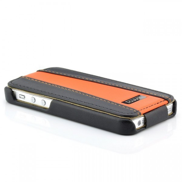 iCareR Colour Stripe Series Case für Apple iPhone 5 & 5S Schwarz-Orange