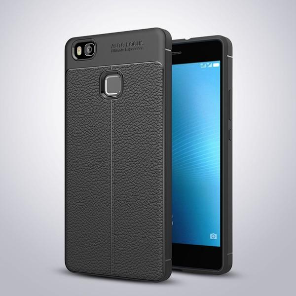 Litchi Soft Back Cover für Huawei P9 Lite - Schwarz