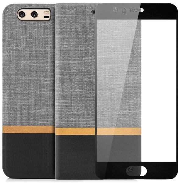 Kunstleder Streifen Tasche für Huawei P10 Plus - Grau + FC GLAS S