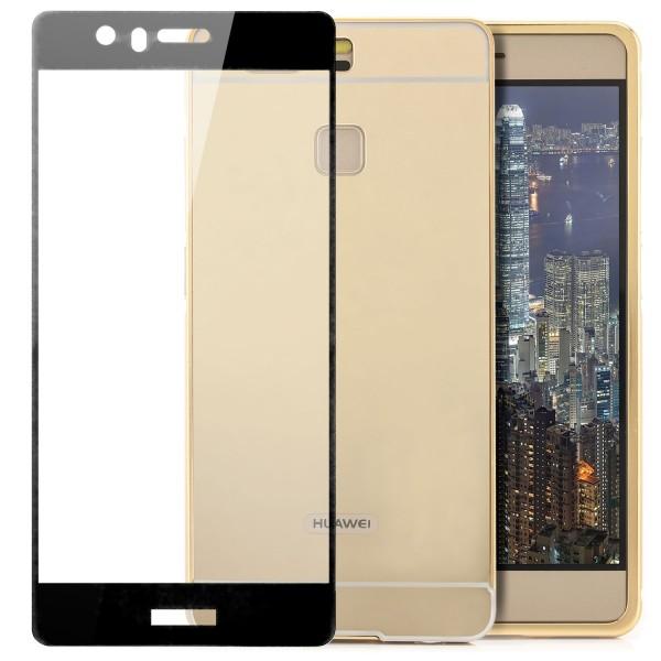 2in1 Chrom Case für Huawei P9 - Gold + FC Glas S