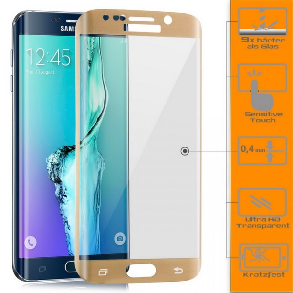 Curved Displayschutzglas für Samsung Galaxy S6 Edge Plus Gold