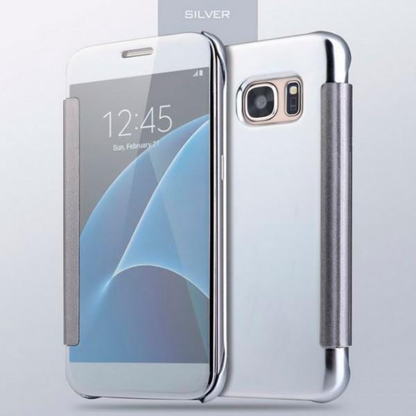 Transparent Flip Case für Samsung Galaxy S7 Edge - Silber