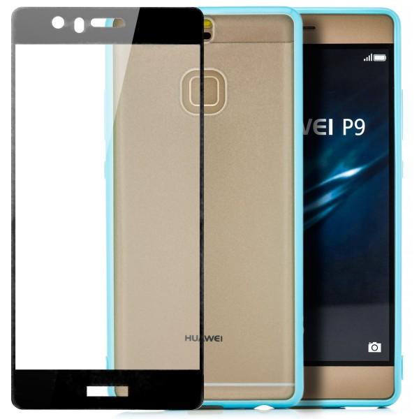 Hard-Soft Back Cover für Huawei P9 - Blau + FC Glas S