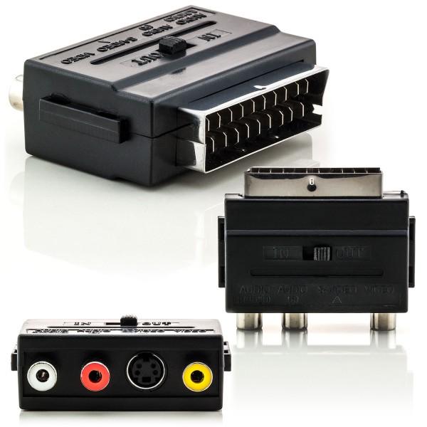 Scart-Adapter 3x Cinch + S-Video