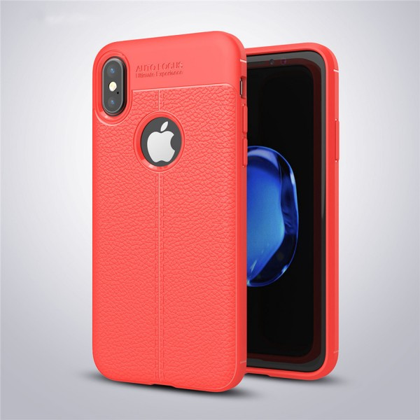 Litchi Soft Back Cover für Apple iPhone X - Rot