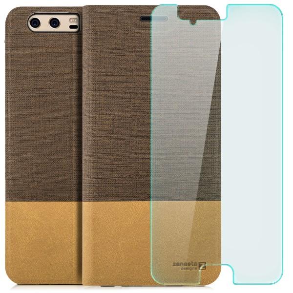 Kunstleder Slim Tasche für Huawei P10 Plus - Hellbraun + GLAS