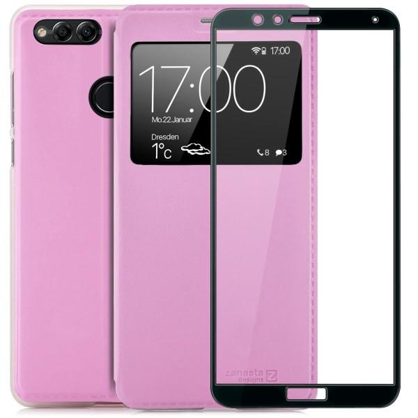 Kunstleder View Case für Huawei Honor 7X - Rosa + FC Glas S