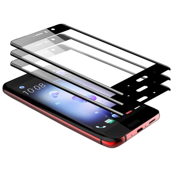 3x Curved Displayschutzglas für HTC U11 - Schwarz