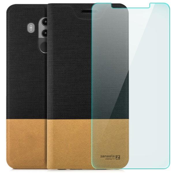 Kunstleder Slim Tasche für Huawei Mate 10 Pro - Schwarz + GLAS