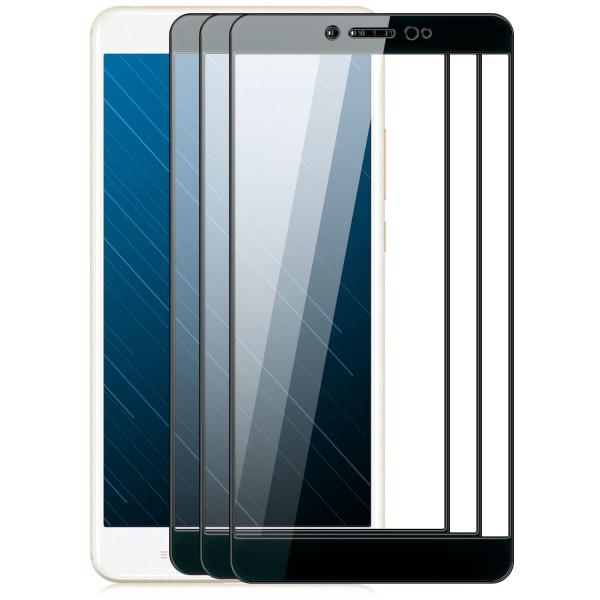 3x Full Cover Displayschutzglas für Xiaomi Mi Max 2 - Schwarz