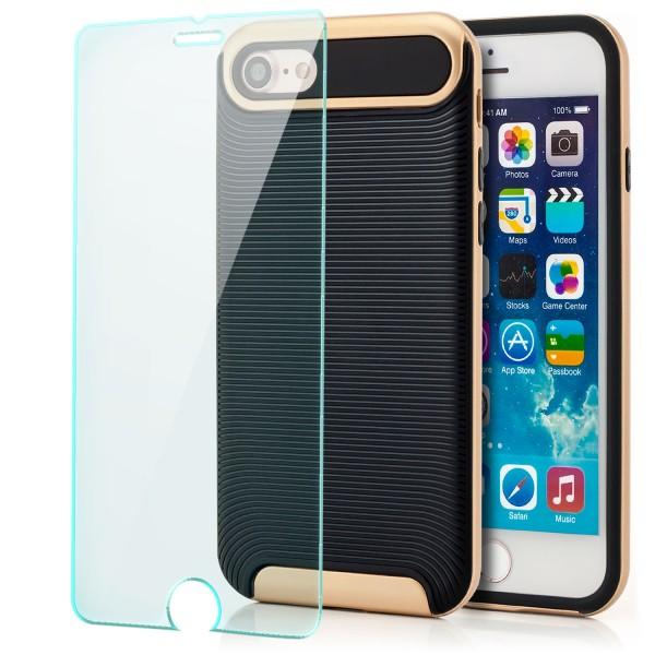 "Ar-Silikon Back Cover Typ 2 für Apple iPhone 8 / 7 (4,7"") - Schwarz-Gold +GLAS"