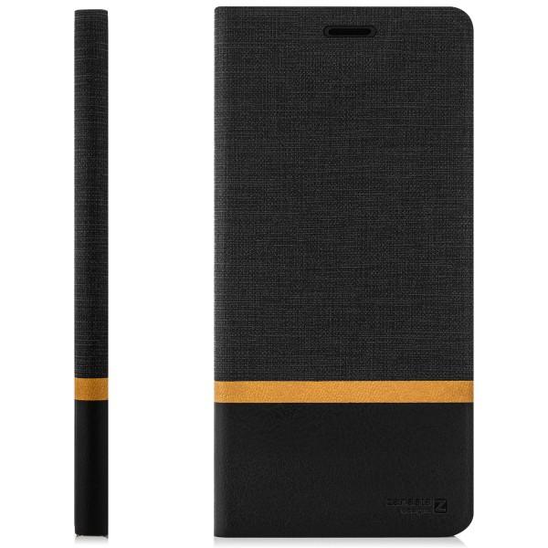 Kunstleder Streifen Tasche für HTC U11 Life - Schwarz