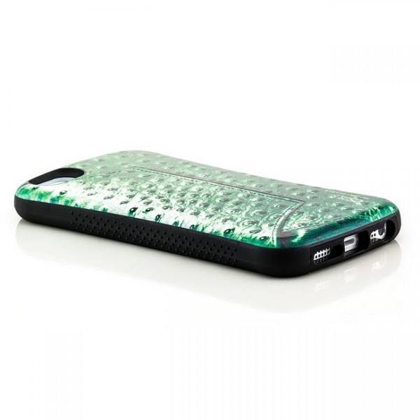 Shell Style Back Cover für Apple iPhone 5 & 5S Kroko Grün