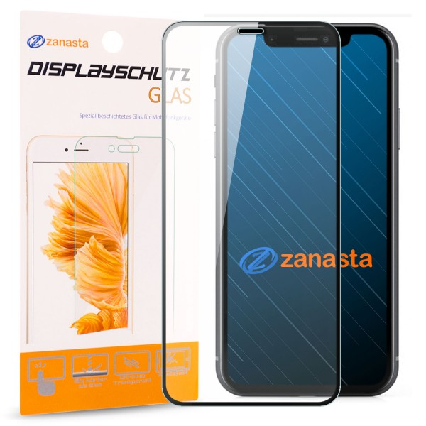 "Full Cover Displayschutzglas für Apple iPhone XR (6,1"") - Schwarz"