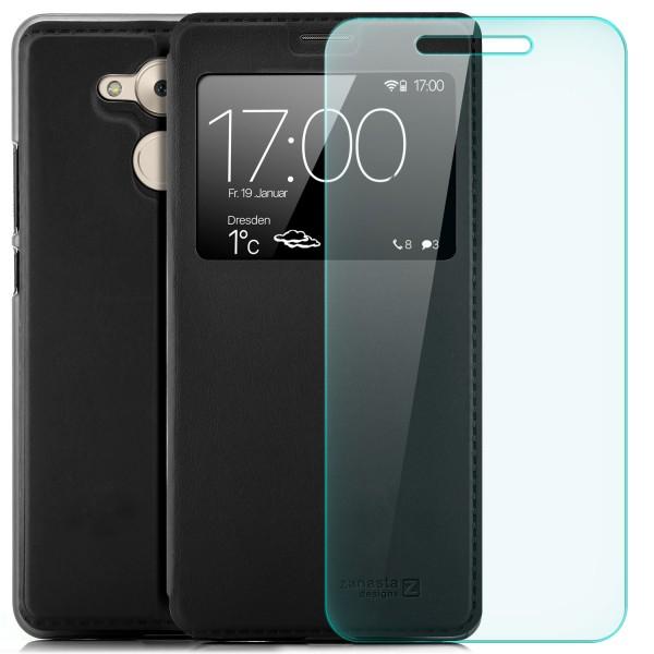 Kunstleder View Case für Huawei Honor 6C / Enjoy 6S - Schwarz + GLAS