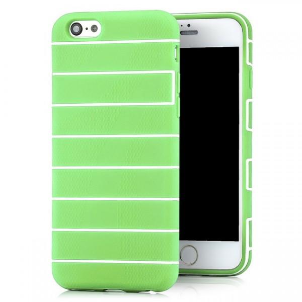 Streifen Silikon Back Cover für Apple iPhone 6 & 6S (4,7) Grün -MF-