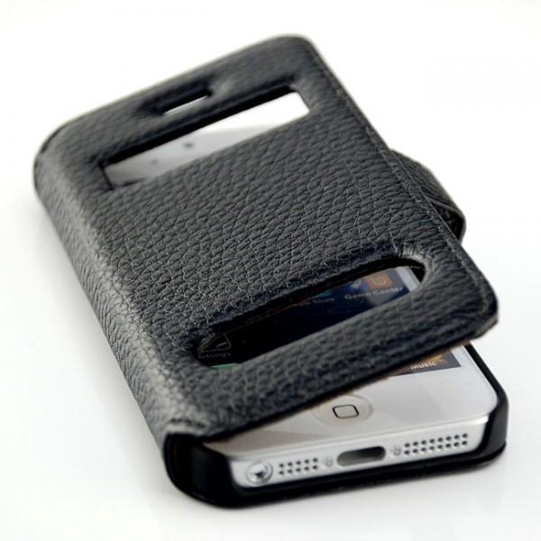 Double View Flip Case für Apple iPhone 5 & 5S Schwarz