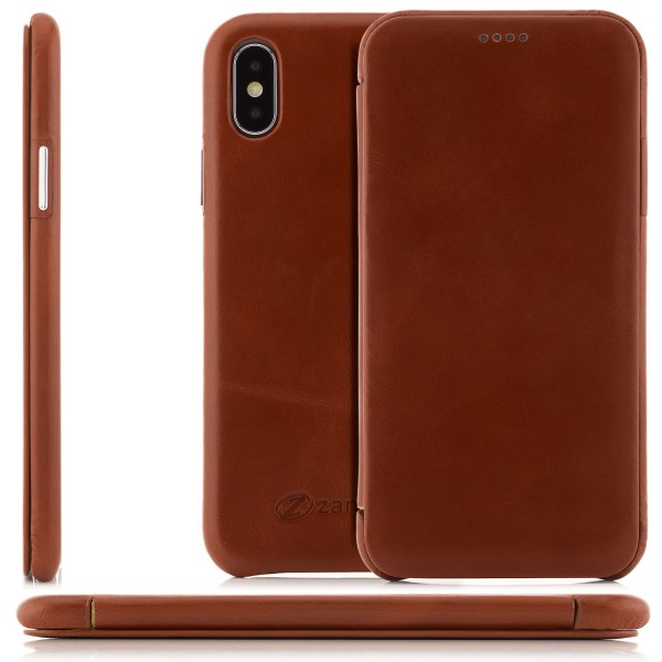 Zanasta Curved Edge Vintage Tasche für Apple iPhone X - Braun
