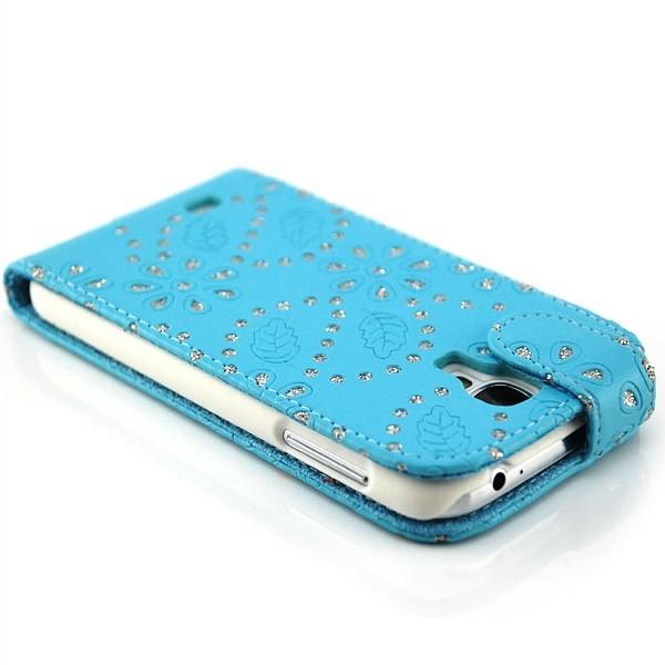 Strass Flip Case für Samsung Galaxy S4 Blau