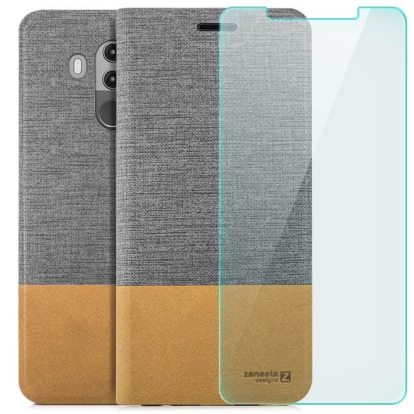 Kunstleder Slim Tasche für Huawei Mate 10 Pro - Grau + GLAS