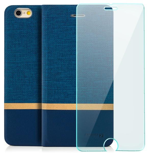 """Kunstleder Streifen Tasche für Apple iPhone 6 / 6S Plus (5,5"""") - Blau + GLAS"""
