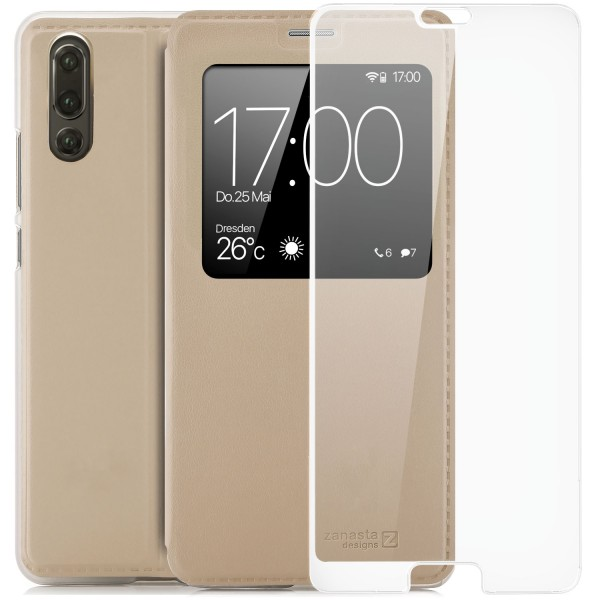 Kunstleder View Case für Huawei P20 - Gold + FC Glas W