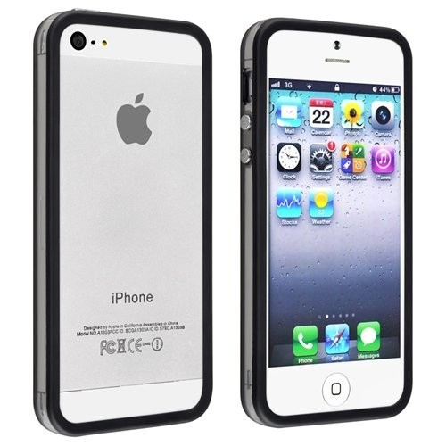 TPU & Silikon Bumper für Apple iPhone 5 & 5S Schwarz-Transparent