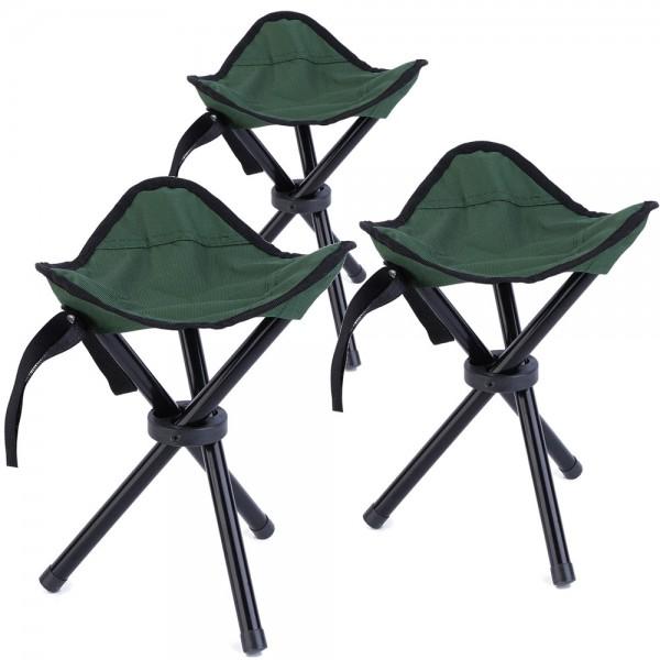 3x Faltbarer Camping Hocker - Grün