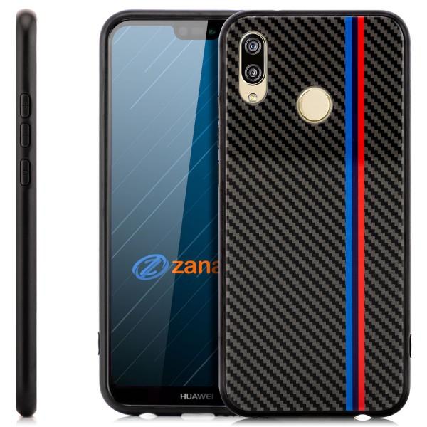 Carbon Hülle Rot-Blau Streifen für Huawei P30 Pro