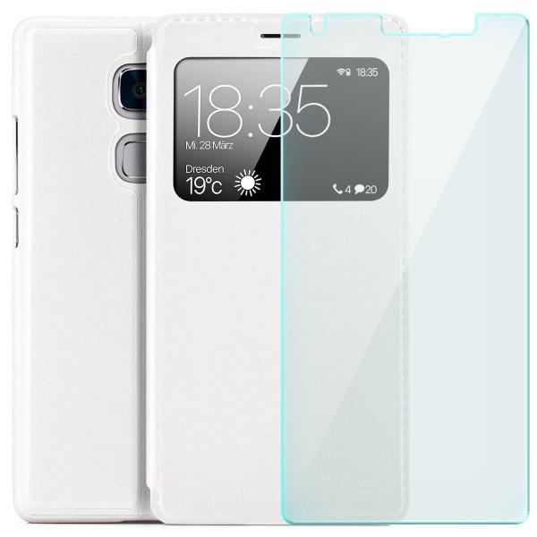 Kunstleder View Case für Huawei Mate S - Weiß + Glas