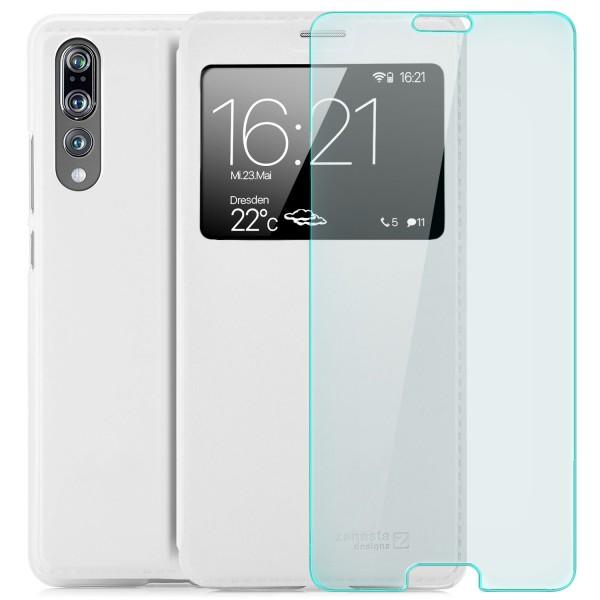 Kunstleder View Case für Huawei P20 Pro - Weiß + Curved Glas T