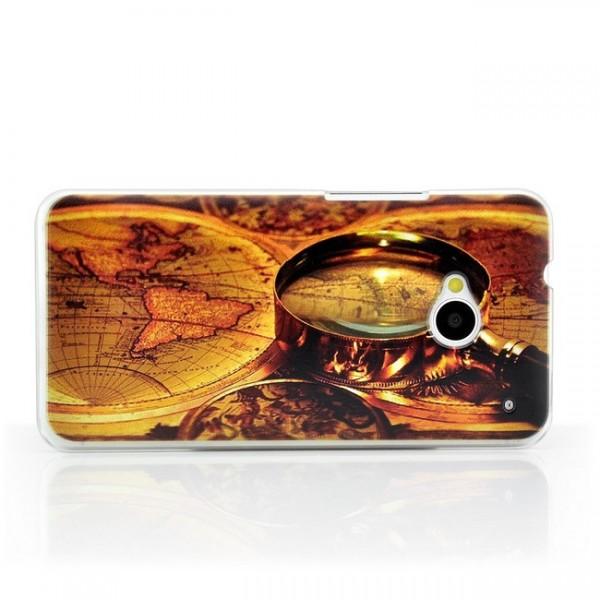 Weltkarte Lupe Hard Back Cover für HTC One M7
