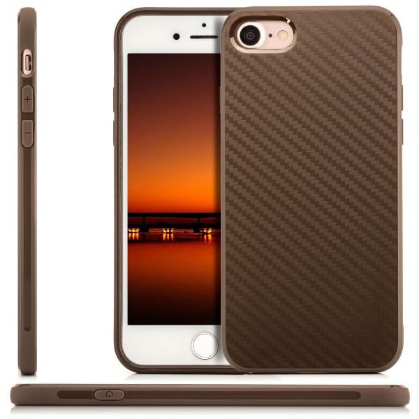 """Silikon Carbon Schale für Apple iPhone 8 / 7 (4,7"""") - Braun"""
