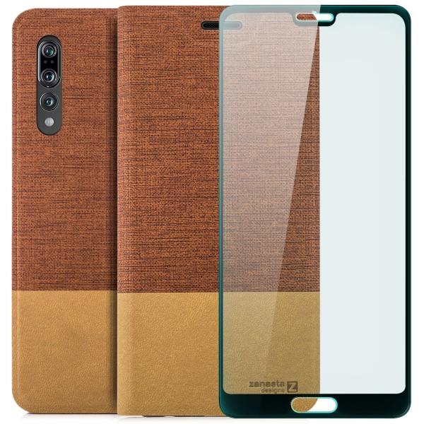 Kunstleder Slim Tasche für Huawei P20 Pro - Rotbraun + FC Glas S