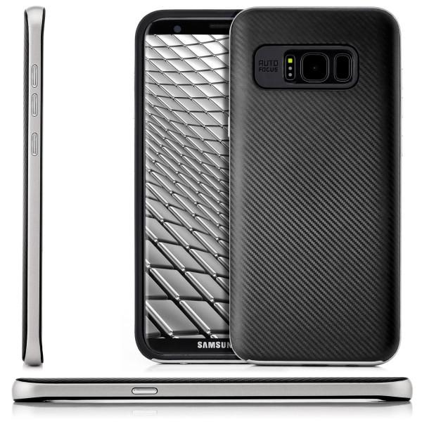 Carbon Style Hülle für Samsung Galaxy S8 Plus - Silber