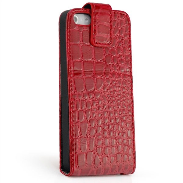 Kroko Flip Stand Case für Apple iPhone 5 & 5S Rot