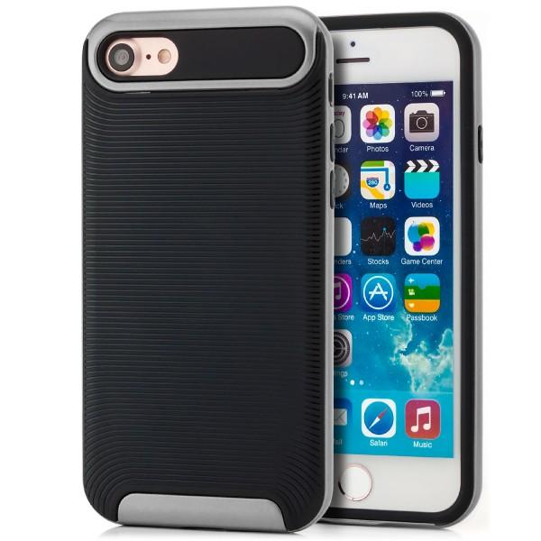 """Ar-Silikon Typ 2 Schutzhülle für Apple iPhone 8 / 7 (4,7"""") - Schwarz-Silber"""