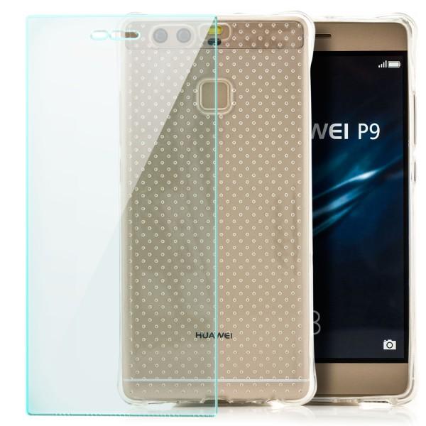 Silikon Silikon Shockproof Case für Huawei P9 - Transparent + GLAS