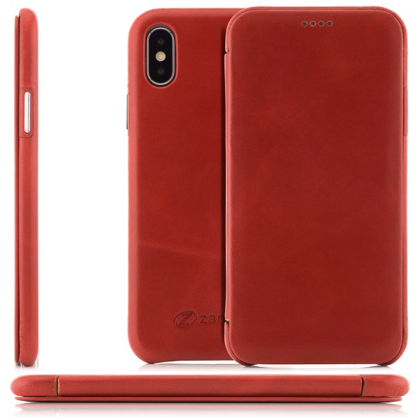 Zanasta Curved Edge Vintage Tasche für Apple iPhone X - Rot